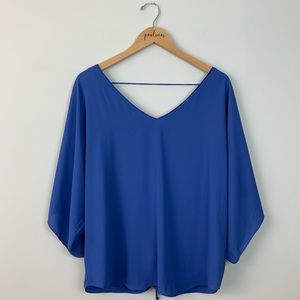 White House black market blue corset back top